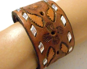 Brown and Silver Leather Cuff Bracelet Tooled Jewelry Reclaimed Vintage Boho Western