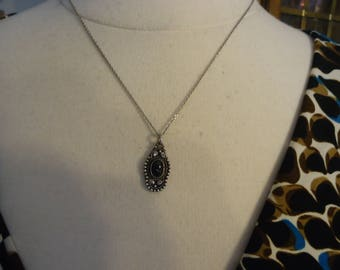 """Vintage Sterling Silver and Onyx Southwestern Pendant on 18"""" Sterling Chain"""