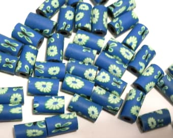 20 Fimo Polymer Clay Tube Blue Yellow  Beads