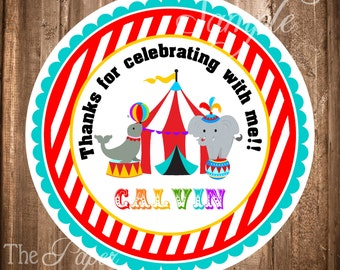 Carnival Labels, Personalized Circus Gift Tags, PRINTABLE Carnival Stickers, Circus Carnival Party, Digital file