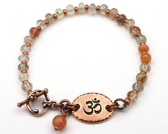 Copper om bracelet, multicolor semiprecious stone rutilated quartz beads, warm earthtones, copper, 7 3/4 inches long