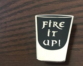 """The Crow - Eric Draven - """"Fire It Up! - Shot Glass"""" - 1.25"""" Hard Enamel Pin - Black and Sulver - Lapel Pin, Badge, Flair - Halloween"""