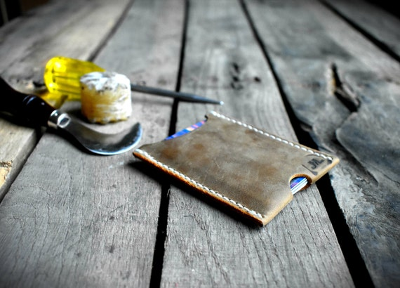 Front Pocket Wallet; Minimal Full Grain Leather Wallet, MADE IN ALASKA Small Natural Leather