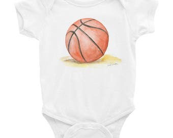 Basketball Watercolor Infant Bodysuit Baby Onesie
