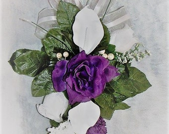Wedding aisle decoration Church Pew Wedding Decoration Purple and White wedding pew decoration