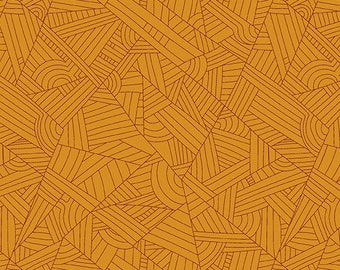 Pre-order: Lines in Butterscotch by Shannon Brinkley from the Mosaic collection for Andover #A-8886-EO by 1/2 yard