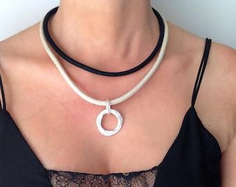 Leather Necklace, Unique Necklace, Double Necklace, Plated Charm Necklace,  Unique Charm Necklace, Elegant Necklace, Circle Charm Necklace