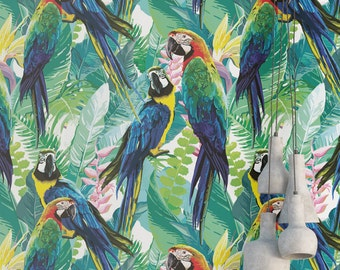 Parrots and Flowers Wallpaper - Removable Wallpaper - Colorful Birds and Flower Wallpaper - Floral Print - Tropical Peel and Stick Wallpaper