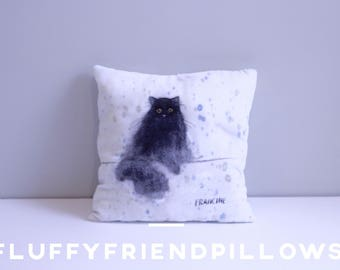 hand painted 100% silk velvet pet portrait pillow14*14