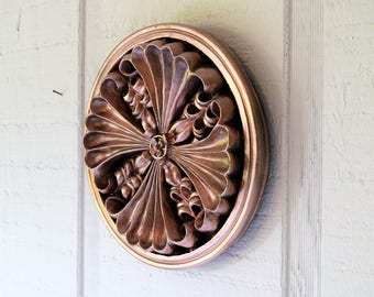 Rose gold medallion, hanging wall art, pink gold, wall decoration
