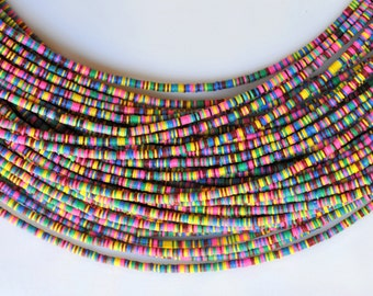 3mm, 4mm, 6mm or 8mm African Vinyl Heishi Beads - Rainbow, Hot Pink, Yellow or Blue - 30-36 Inch Strand