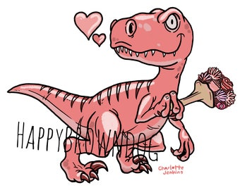 Romantic T-Rex Dinosaur Illustration Print