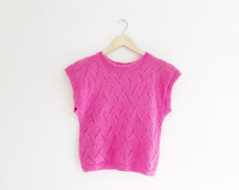 SALE Hot Pink Mohair Diamond Knit Top Size XS, Small