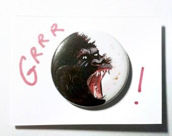 """Badge """"Jungle Fever"""" - sur plaquette dessinée à la main - pièce unique"""