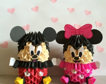 Adorable 3D Origami Mickey And Minnie Set Of 2