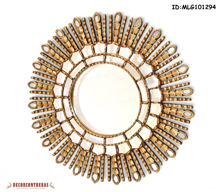 Espejo redondo de madera tallada a mano gold princess for Espejos de madera redondos