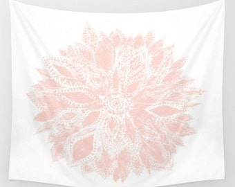 Pink White Flower Wall Tapestry, blush pink tapestry, light pink tapestry, pink flower tapestry, pink white tapestry, pink floral tapestry