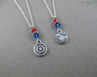 Captain America - Winter Soldier - Reversible Charm Necklace - Steve Rogers - Bucky Barnes