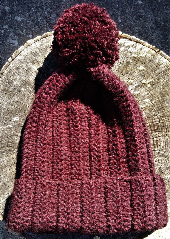 Burgundy Wool Blend Pom Pom Crochet Beanie hat (CHOOSE YOUR COLOR)