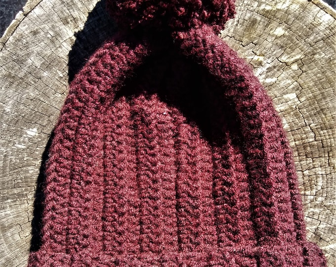 Burgundy Wool Blend Pom Pom Crochet Beanie hat (CHOOSE YOUR COLOR)