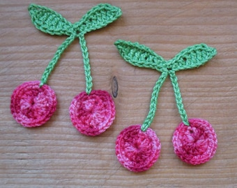 set of 2 bunches of cherries multi pink crocheted height 6 cm
