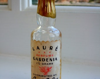vintage Gardenia mini perfume by Laure Co. of New York, NY, circa 1930s. perfume bottle shaped like a wine or champagne bottle.
