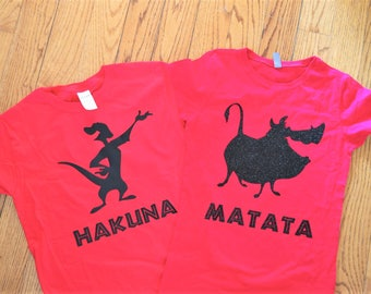 Disney Lion King Inspired Hakuna Matata shirt set; Family disney lion king shirt set;  Timone and Pumba Silhouette t-shirt set