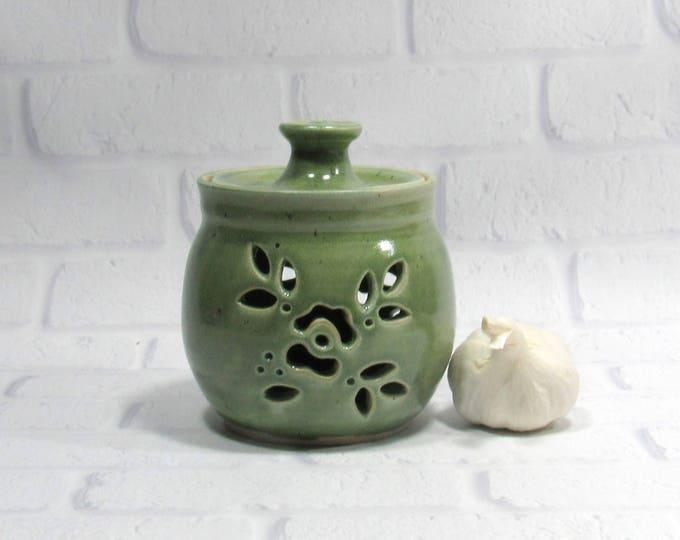 Featured listing image: Garlic Jar - Garlic Keeper - Kitchen Organization - Kitchen Canister - Storage Jar - Candy Jar - Pottery Jar - Ceramic Canister