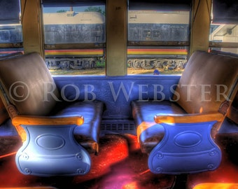 Train Seats in an old passenger car, HDR Fine Art Photograph Print,  8x10