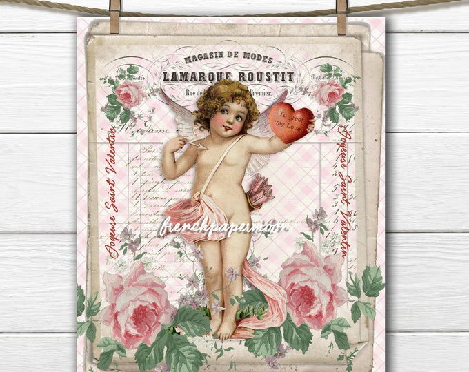 Shabby Victorian Cupid Digital, Cupid, Vintage Roses, French Graphic, Valentine Pillow Image, Large Image Graphic Transfer