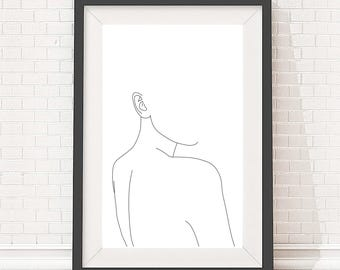 A3 Giclee print - Minimal line drawing of woman's back - Figurative art - Black and white illustration - Minimalist art