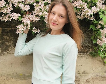 Cropped Sweater - Glittery Sweater - Mint Sweater - Cropped Jumper - Glittery Top - Glitter Sweater -  Ready to Ship