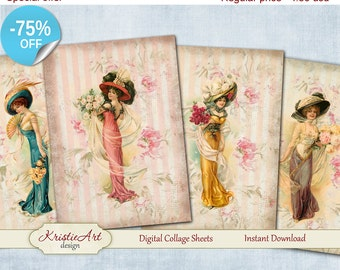 75% OFF SALE Elegant Ladies - Digital Collage Sheets L008, Digital Cards, Large digital image, Transfer Images bags books fabrics Fashion