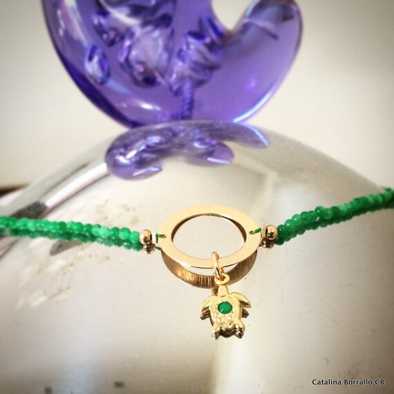Green agate necklace, 14 k gold ring and little turtle pendant