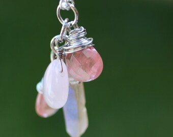 Cherry Quartz Pink Quartz and Crystal Charm Necklace