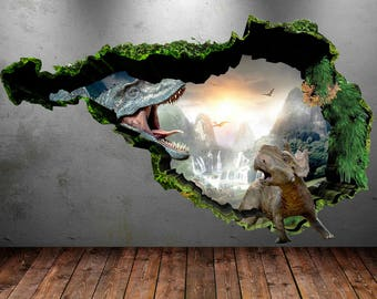 Dinosaur Wall Decal Wall Stickers Full Color 3D Dinosaur T-Rex Wall Art Sticker Boys Decal Mural Transfer Graphic Wall Stickers WSD74