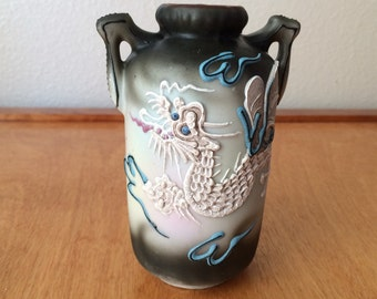 "Vintage Japanese Moriage Dragon Vase 4 1/2"" Tall"