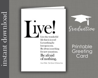 Graduation Printable, Graduation Card, printable card, inspirational card, encouragment card, Oscar Wilde quote, be afraid of nothing, cards