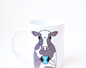 Cow mug - christmas gift holiday present - gray handmade white 11oz coffee cup latte mug cute dairy cow gift farm animal