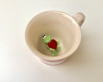 FROG WITH HEART Surprise animal mug, Frog with heart in coffee mug, show your love idea, love mug, coffee mugs with animals inside