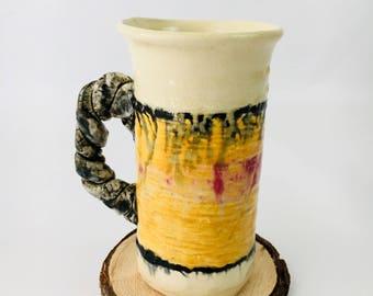 Handmade Tall Ceramic Hot Tea or Coffee Mug Yellow Black and Red