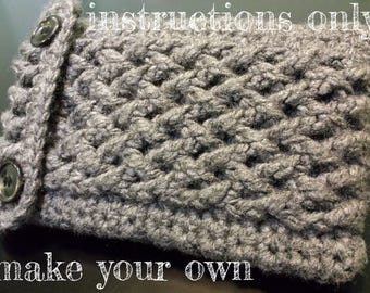 INSTRUCTIONS ONLY - Crochet your own Cabled Kindle Nook Kobo Reader - Cables bulky chunky Cover Sleeve Case Pouch Cozy Pattern Download
