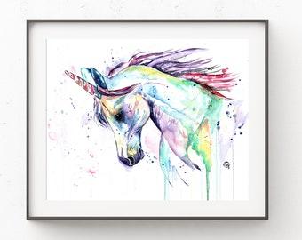 Unicorn watercolor print, Unicorn Art, Girls room, Fairy art, Unicorn Painting, Mythical, Unicorn Theme, gift for her, baby girl gift,