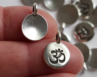 Silver Om Charms Or Pendants, 2+ TierraCast Antiqued Silver Plated Pewter, Lead Free Meditation Yoga Eastern Religion Charms