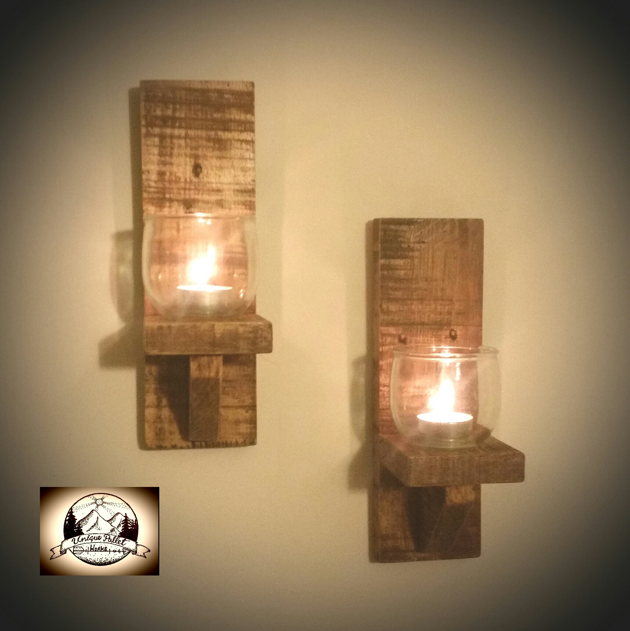 Wooden Wall Candle Holder Pallet Shelf Mounted Sconce