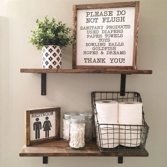 Please Do Not Flush, Wash Your Hands, Bathroom Sign, Wood Framed Sign, Rustic Decor, Farmhouse Style Decor, Handwritten Font, Gallery Wall