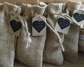 Chocolate-Covered Coffee Beans in Burlap Wedding Favors Set of 25