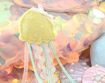 Yellow Jellyfish Plush Pin