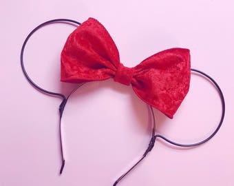 Red Velvet Bow and Black Wire Mouse Ears Headband