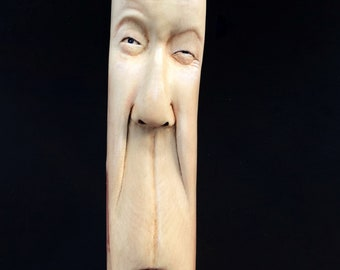 RESERVED for Scott, Walking Stick, Wood Carving, Hand Carved Wood Art, by Josh Carte, Cane, Staff, Functional Wood Art, Perfect Wood Gift